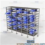 Sterile Instrument Tray Shelving Storage Racks SPD Blue Wrap Surgical Packaging