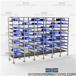 Surgical Instrument Storage Racks Shelving Wire SPD Prevent Tears Blue Wrap