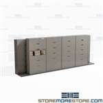 High Density File Storage Cabinets Letter-Size Folders Sideways Rolling Tracks