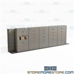 File Cabinets Sliding on Tracks to Condense Storage Space Shifting Shelving