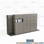 Rolling Binder Cabinets Storage System Saves Floorspace Move Sideways on Tracks