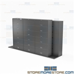 Sliding End Tab File Cabinets Six-Tier Letter-Size Folder Storage Locking Doors