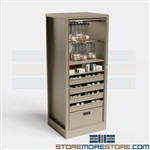 Pharmacy Storage Cabinets Spinning Medicine Shelving Dispensing Narcotics Bins