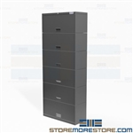 "Six-Door Binder Storage Cabinet Flipper Doors Locking 36"" Wide Six Shelves Datum"