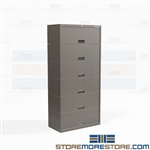 Legal Cabinet with Flip Up Doors Six Filing Shelves Storing End Tab Pockets