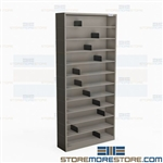 "11 Shelf Storage Racks CD DVD Media Stack Shelving Towers 36"" W x 77.25""H Datum"