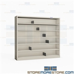 "Narrow Media Shelves CD DVD VHS Storage Shelving Units 48"" W x 43.5"" H Datum"