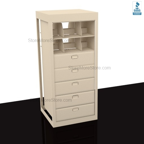 Spinning Filing Cabinet With 5 Legal Size File Drawers And 2 Shelves Per Side 10 4 Total Adder Unit 38 3 W X 31 D 82 1 H