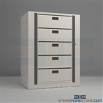 medical rotating file systems, rotary secure file shelving, rotary shelving, Spacesaver Rotary File