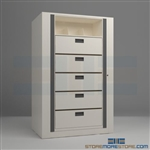 office rotary file shelves, medical rotating shelves, rotating secure file systems, Datum Ez2 Rotary Action File