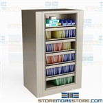 Rotating File Cabinet 5 Roll-out Shelves & 1 Fixed Shelf Rotary EZ2 Legal-Size