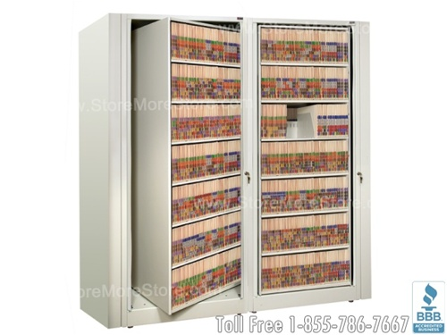 """rotary file cabinets or rotating filing shelves that hold end tab file  folders in a cabinet """" - Rotating Office File Storage Cabinet Rotary Cabinets SMS-15-XLT"""