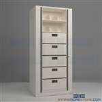 rotary file shelving, secure rotary file shelving, office rotating file shelving systems, Spacesaver Rotary File