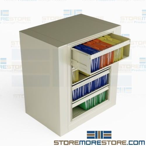 Revolving File Cabinet Four High Letter Size Roll Out Top Tab