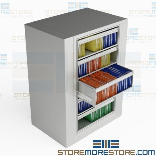 Rotating File Cabinet Five Roll Out
