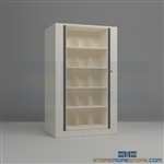 rotary file cabinets or rotating filing system shelves that hold end tab file folders in a open cabinet that rotates and locks