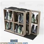 High Capacity Golf Bag Storage Room Racks Rolling on Tracks Country Club Bags