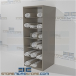 Steel shelving designed for Rolled Blueprints, maps, and construction drawing storage