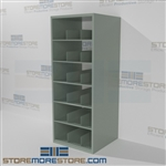 Steel shelving designed for rolled plan drawings, maps, and construction blueprint storage