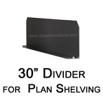 "Steel shelving dividers for 30"" deep plan storage and poster storage shelving"