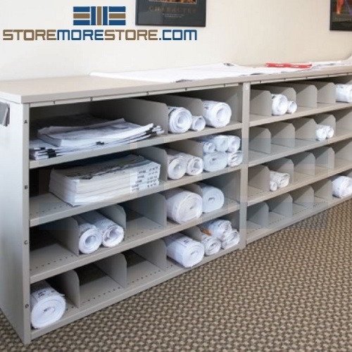 Rolled blueprint storage rack counter cabinet pigeon hole for Plan storage racks