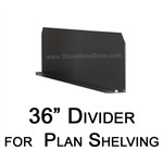 "Steel shelving dividers for 36"" deep plan storage and poster storage shelving"
