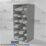 Steel shelving designed for architectural Blueprint storage