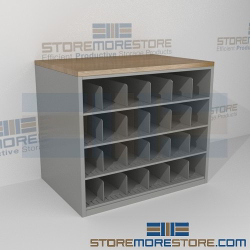Work counter with blueprint storage cubbies rolled for Architectural plan storage
