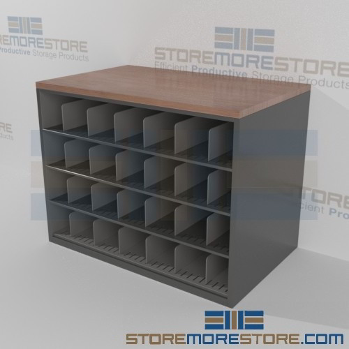 Counter high drawing storage cabinet work surface pigeon for Architectural plan racks