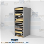Solander box storage shelf designed to hold a single clam shell box or portfolio jacket on each shelf allowing for long term archival without fear of damage or loss designed for museum storage these powder coat shelving won't off-gas archive storage