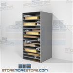 Large shelves for flat hollinger boxes designed to hold large size documents like newspapers, mat foam boards, broadsides, historical maps, posters, and artwork, allowing items to be stored in an acid free environment which preserves documents on racks