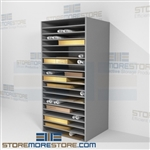 Shelves for large mat board, large paper, cardstock this steel racks are fully adjustable and come with plenty of color options making this an attractive storage solution to any space store portfolio bags, solander archival corrugated e-Flute boxes