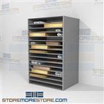 Newspaper flat storage shelves designed for archives in mind these all steel shelves allow you to store various sizes of paper including flag double crown, double royal, double large post, Imperial, Demy, Elephant on a Archival large steel shelving rack