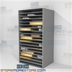 Archival map and poster shelf units with university archival libraries in mind this shelving system features multiple adjustable steel shelves that can be adjusted for storage of all your precious works on paper without fear of damage or crushing