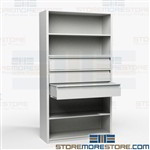 Storage Shelving with Drawers Multiuse Cabinet Metal Office Racks Supplies