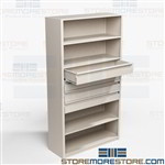 Wall Shelves with Drawers Storing Combination Small Supplies Binders Boxes Books