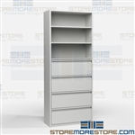 Combination Filing and Storage Cabinet Metal Office Racks Storing Supplies Books