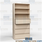 Shelving with File Drawers Steel Storage Shelves Binders Record Boxes Supplies