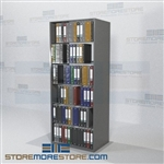 "Adjustable Storage Shelves Document Chart Filing Racks 6 Openings 88"" High"