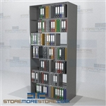 "Two Sided Free Standing Binder Storage Office Shelves 7 Levels 97"" High"