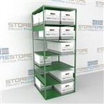 Double sided file box storage shelves for for letter and legal record storage boxes