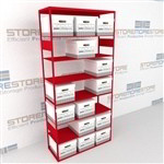 Steel file box archive shelves for letter and legal archival record storage filing boxes
