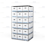 Double sided box storage shelves for for letter and legal record storage boxes