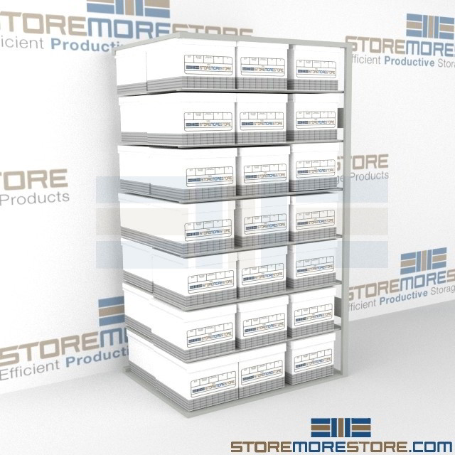 box racks steel storage shelves for archival file boxes 42x32x76 rh storemorestore com Document Storage Racks Shelves Paper Storage Shelves