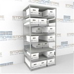 Double sided box storage racks for for letter and legal record storage boxes