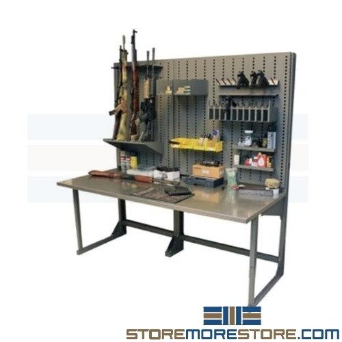 Gunsmith Workbench Police Armory Bench 72x30 Stainless Top Hanging