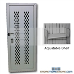 Ammo Storage Cabinet for storing ammunition and small guns safely and securely. Cabinet is welded using heavy-duty ventilated steel with locking hinged doors