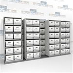 Double Deep Archival File Box Shelving Units Rolling Left to Right on Tracks | SMSB054BX-4P6