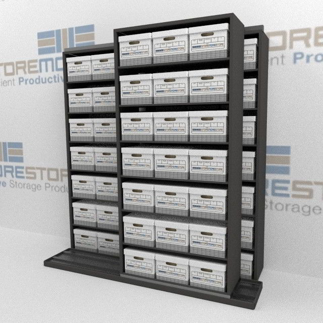 rolling shelves for storing record boxes file box storage shelving rh storemorestore com Storage Shelves and Racks Banker Box Storage Shelving Racks