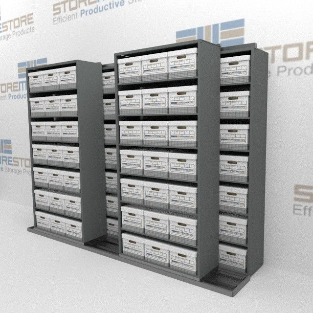 Rolling Shelving Storing Letter Legal Record Boxes On